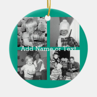 Instagram Photo Collage with 4 pictures - emerald Christmas Ornament
