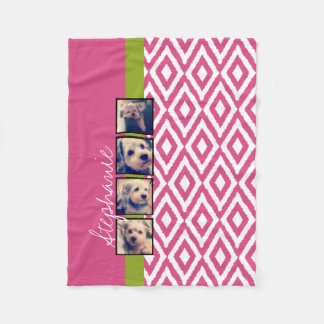 Instagram Photo Collage with Ikat hot pink name Fleece Blanket