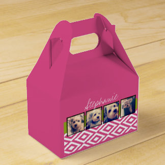 Instagram Photo Collage with Ikat hot pink name Party Favour Box