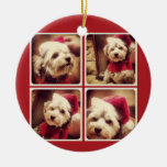 Instagram Photo Collage with Merry Christmas Round Ceramic Decoration