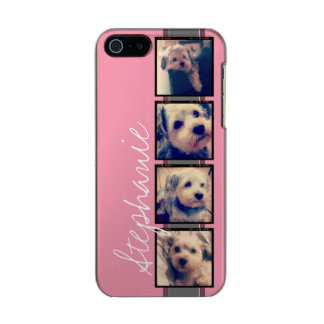 Instagram Photo Display - 4 photos pink name Incipio Feather® Shine iPhone 5 Case