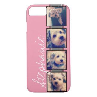 Instagram Photo Display - 4 photos pink name iPhone 7 Case
