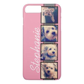 Instagram Photo Display - 4 photos pink name iPhone 7 Plus Case