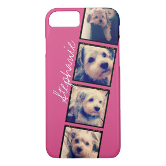 Instagram Photo Display - 4 photos pink name iPhone 8/7 Case