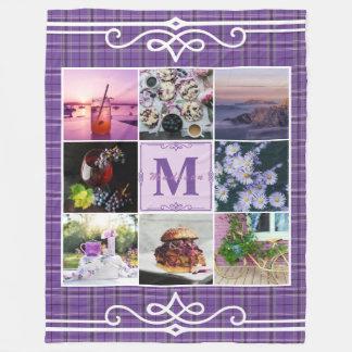 Instagram Photo Grid Purple Plaid Spring Hygge Fleece Blanket