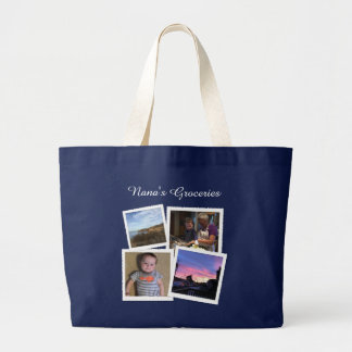 Instagram Photo Navy Blue Large Grocery Tote Bag