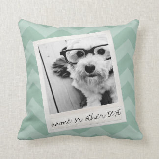 Instagram Photo Retro frame Custom Text Mint Green Cushion