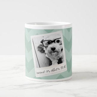 Instagram Photo Retro frame Custom Text Mint Green Large Coffee Mug
