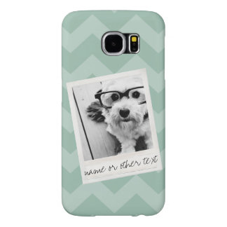 Instagram Photo Retro frame Custom Text Mint Green Samsung Galaxy S6 Cases