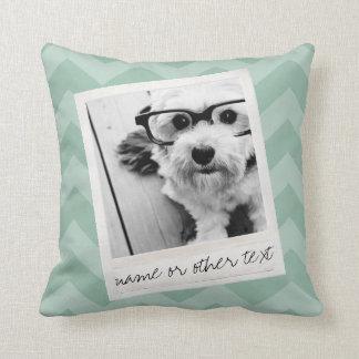 Instagram Photo Retro frame Custom Text Mint Green Throw Pillow
