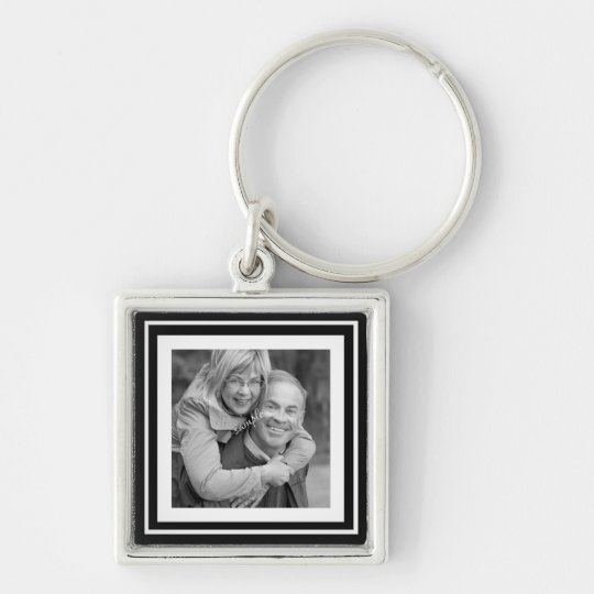 Instagram Photo Squares Choose Background Colour Silver-Colored Square Key Ring