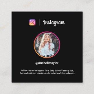Instagram photo trendy social media modern black calling card