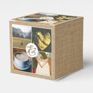 Instagram Rustic Burlap Personalized Photo Grid Favour Boxes