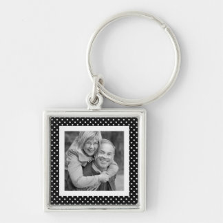 Instagram Square Photo BW Polka Dot Frame Key Ring