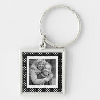 Instagram Square Photo BW Polka Dot Frame Silver-Colored Square Key Ring