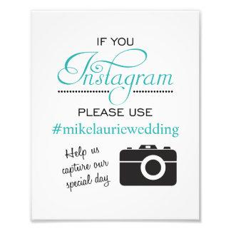 Instagram Wedding Poster Sign - Aqua Blue Photograph