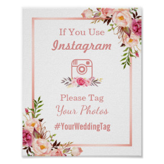 Instagram Wedding Sign | Classy Rose Gold Floral