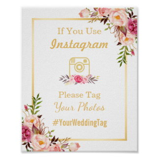 Instagram Wedding Sign | Elegant Chic Floral Gold Poster