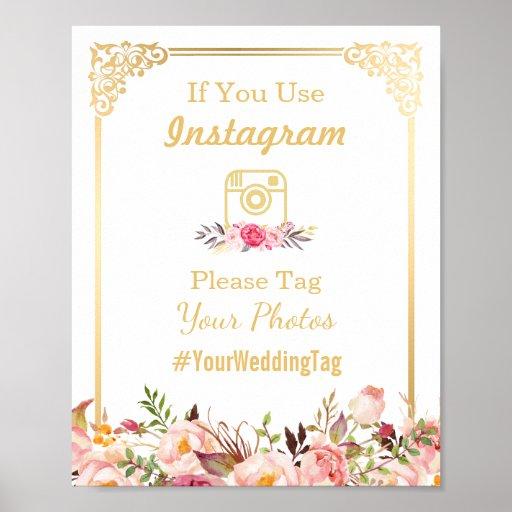 Instagram Wedding Sign   Vintage Gold Frame Floral