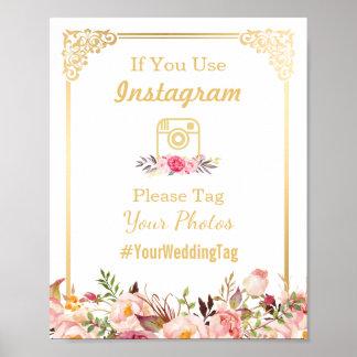 Instagram Wedding Sign | Vintage Gold Frame Floral Poster