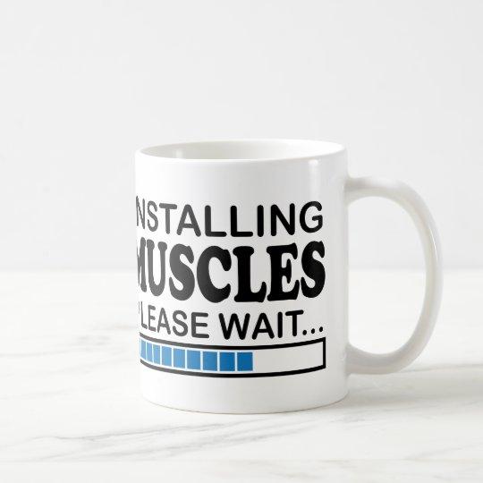 Installing Muscles, Please Wait Blue Coffee Mug