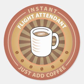 Instant Flight Attendant Round Sticker