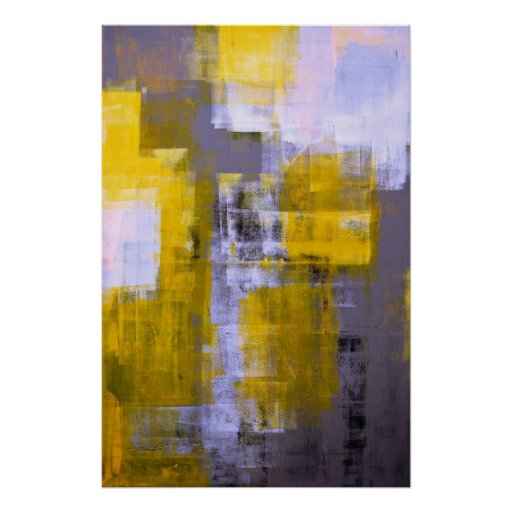 'Instant' Grey and Yellow Abstract Art Poster