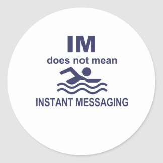 Instant Messaging for Swimmers Classic Round Sticker