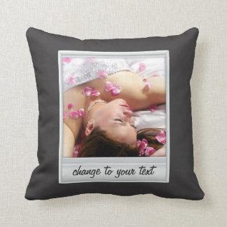 instant photo - photoframe - on black throw pillow