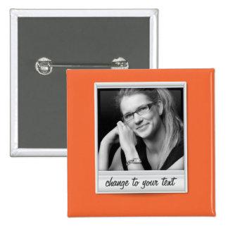 instant photo - photoframe - on orange 15 cm square badge