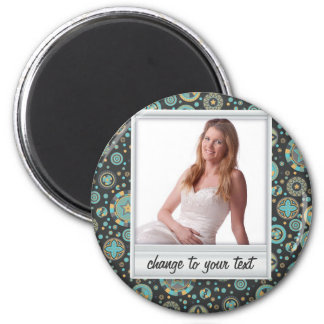 Instant photo - photoframe with pattern 6 cm round magnet