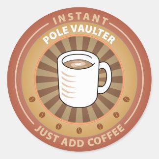 Instant Pole Vaulter Round Sticker