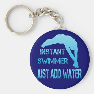 Instant Swimmer Just Add Water Basic Round Button Key Ring