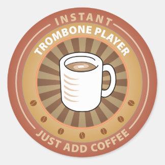 Instant Trombone Player Classic Round Sticker