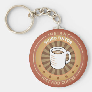 Instant Video Editor Basic Round Button Key Ring