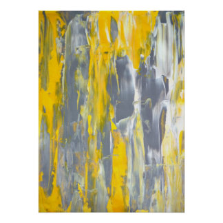 'Instigate' Grey and Yellow Abstract Art Poster