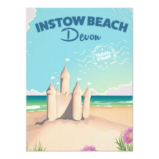 Instow Beach Devon vintage travel poster 17 Cm X 22 Cm Invitation Card