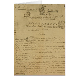 Instructions to soldiers issued by Napoleon Card