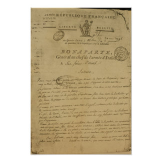 Instructions to soldiers issued by Napoleon Poster