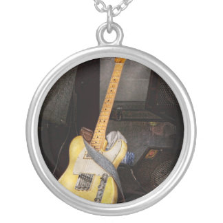 Instrument - Guitar - Playing in a band Silver Plated Necklace