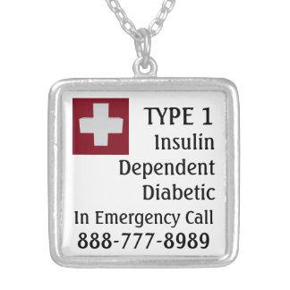 Insulin Dependant Diabetic TYPE 1 Medic Cross Silver Plated Necklace