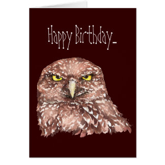 Insulting Age Women Birthday Card Burrowing Owl