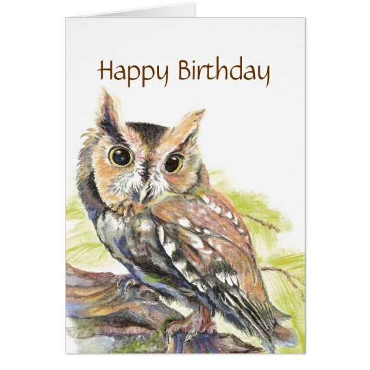 Insulting Cute Owl, Funny Bird,  Birthday Card