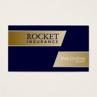 Insurance Broker Business Card - Navy Blue & Gold