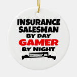 Insurance Salesman Gamer Double-Sided Ceramic Round Christmas Ornament