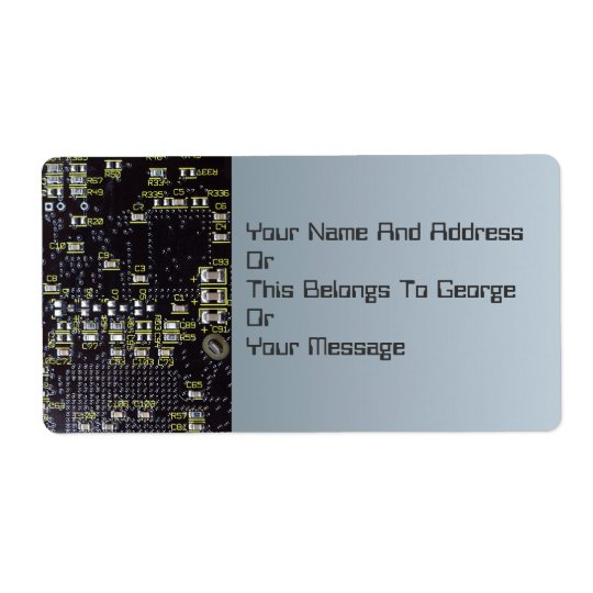 Integrated Circuit Board Name Gift Tag Bookplate