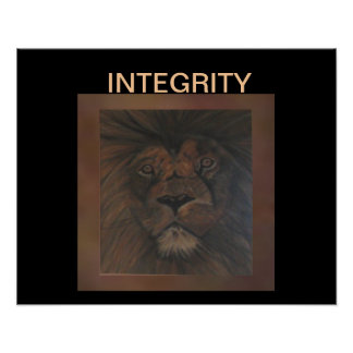 INTEGRITY Lion Poster on Brown/Black