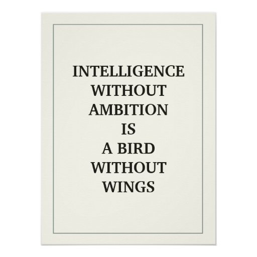 INTELLIGENCE WITHOUT AMBITION IS A BIRD WITHOUT POSTERS