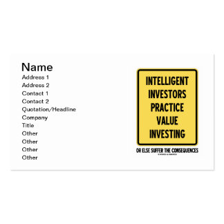 Intelligent Investors Practice Value Investing Double-Sided Standard Business Cards (Pack Of 100)