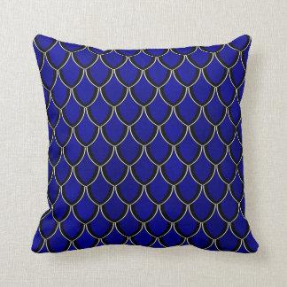 Intense Blue Dragon Scale Watercolor Wash Pillow Throw Cushion